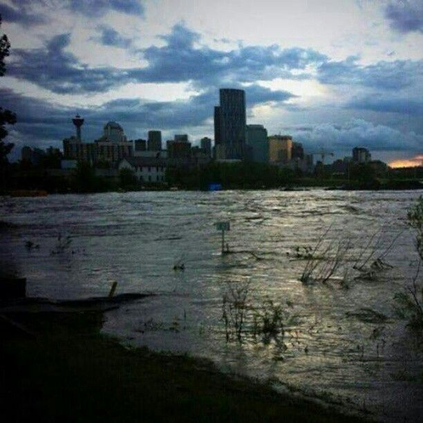 So spooky. Downtown #yyc with no lights #abflood #yycflood