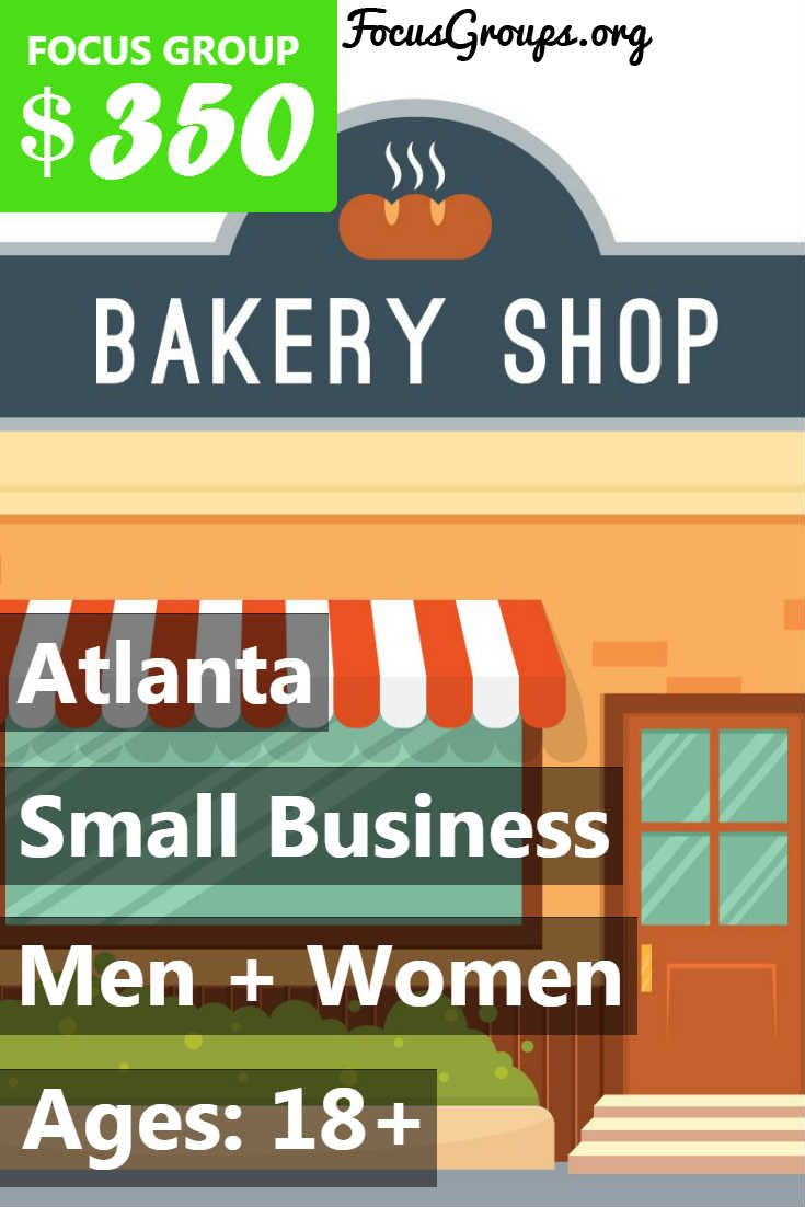 Fieldwork Atlanta is looking for small business owners for a paid market research study. If you own a business, please sign up and take the survey to see if you qualify or call 770-955-1232 and ask for study 1176. We are paying $350 for you time and opinion.