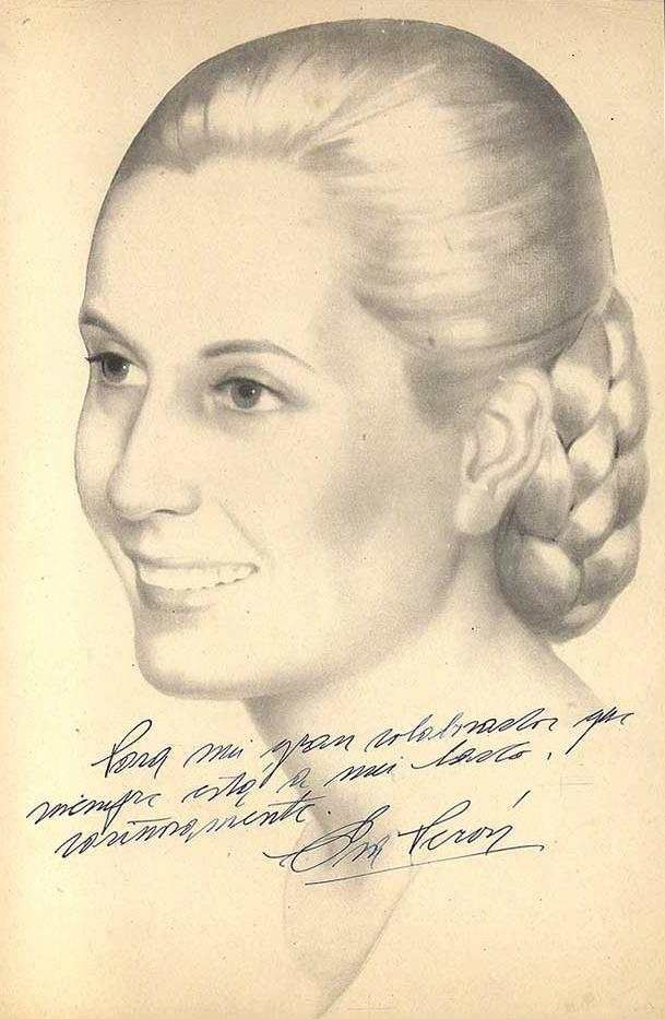 Eva Peron Signed portrait