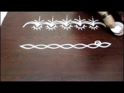 freehand rangoli border designs- freehand muggulu border designs