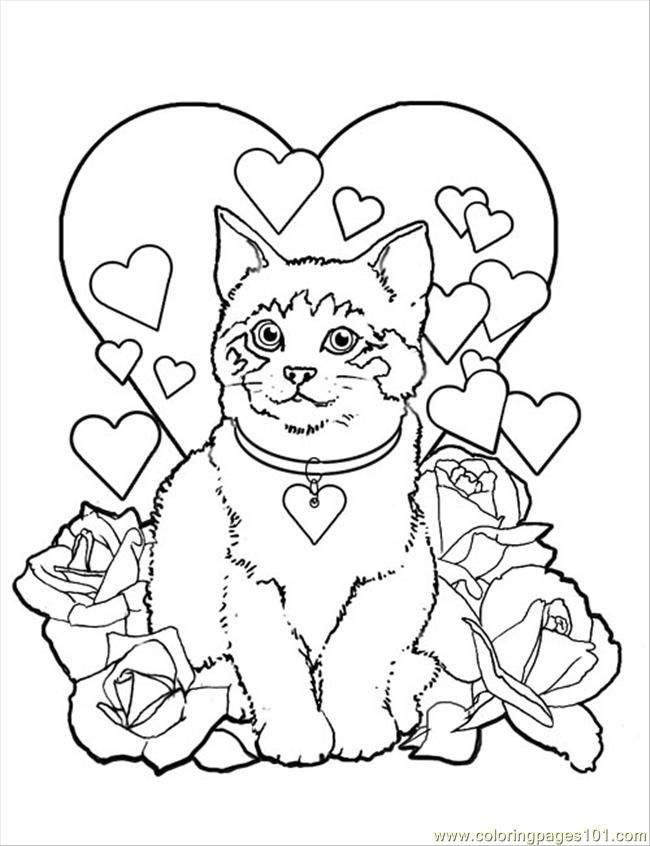 free valentine coloring pictures to print off coloring pages valentine kitty cat mammals