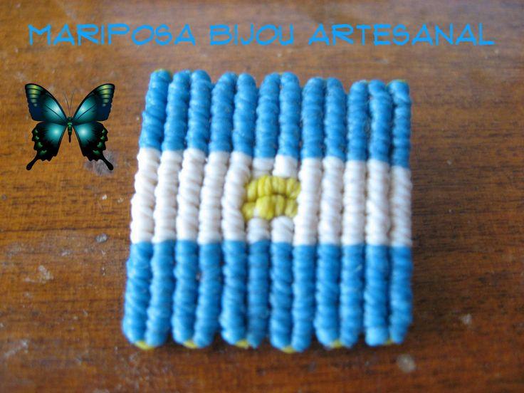 Tutorial Bandera Argentina en técnica Cavandoli macrame