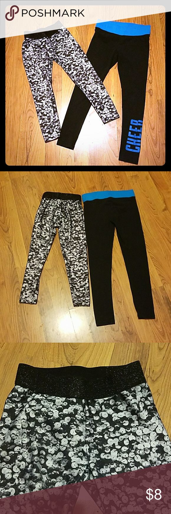👽BUNDLE👽7 item bundle!!! Bundle of 2 Justice leggings and 5 shirts. 5 youth medium t-shirts.  All have minor wear and tear. Black and white pair of leggings has no holes I'm aware of, no stains and normal wear and tear.   The black and white pair of leggings is also capri cut. The black and blue cheer pair are lightly used.  The black is almost like new with nearly no fading.  These both have a lot of life left.  Perfect for school starting. Check out the other listing for 5 shirts to see…