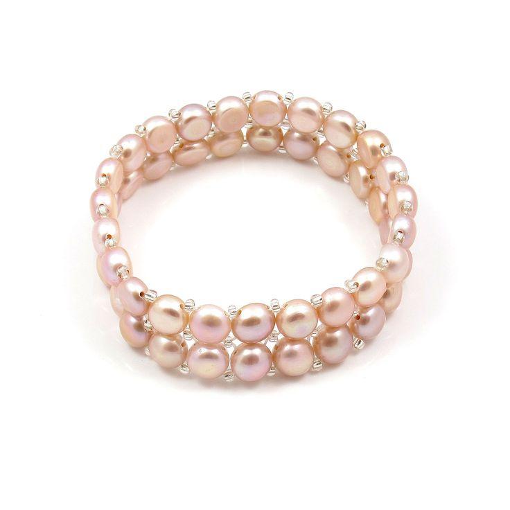 Brățară Orchira țesută cu perle de cultură roz lliac