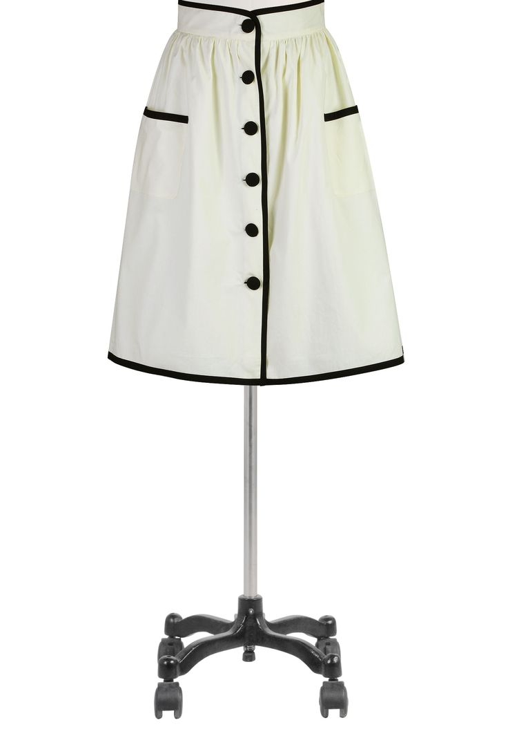 Cute! 1940s Victory Skirt - eShakti Women's Tipped trim front-button skirt