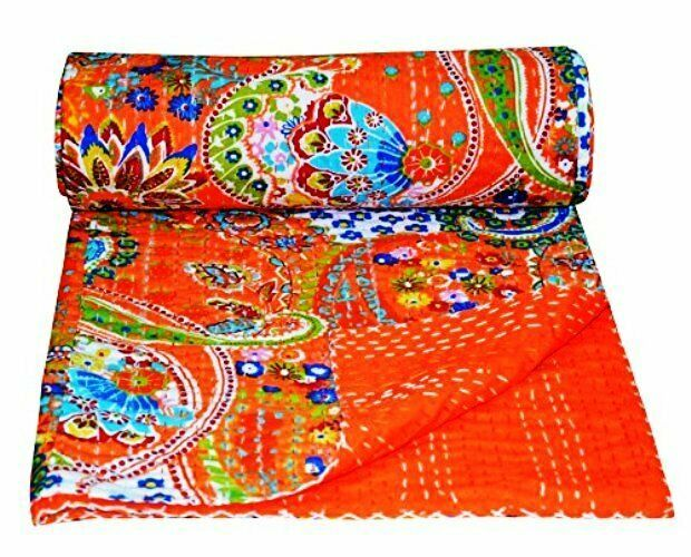 Indian Kantha Quilt Cotton Patchwork Block Print Bedspread Ethnic Vintage Twin