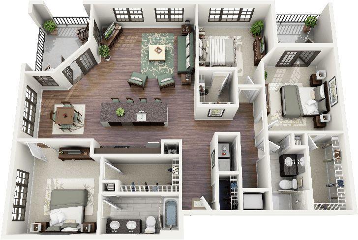 3d Offener Grundriss 3 Schlafzimmer 2 Badezimmer Google Search Badezimmer Diy Ideen Wohnungsgrundrisse Haus Plane Kleine Hausplane