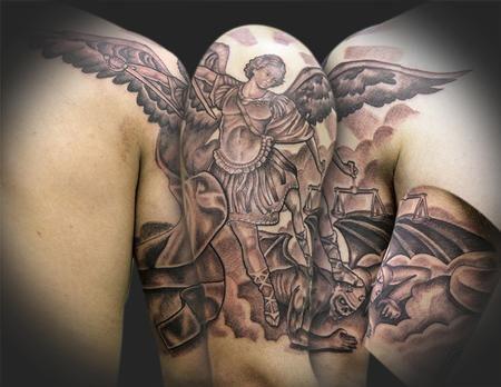 39 best angel slaying dragon tattoo images on pinterest arm tattoos dragon slayer and dragon. Black Bedroom Furniture Sets. Home Design Ideas