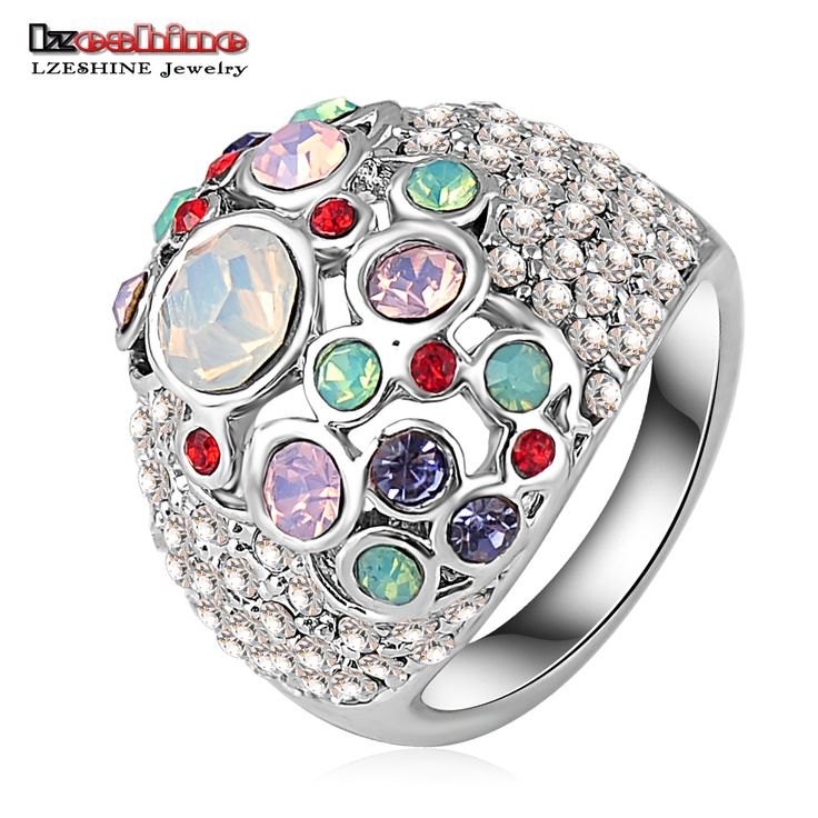 Lzeshine fantasia multicolor strass principessa anello di cristallo austriaco di swa elemento anelli d'argento per le donne ri-hq0047