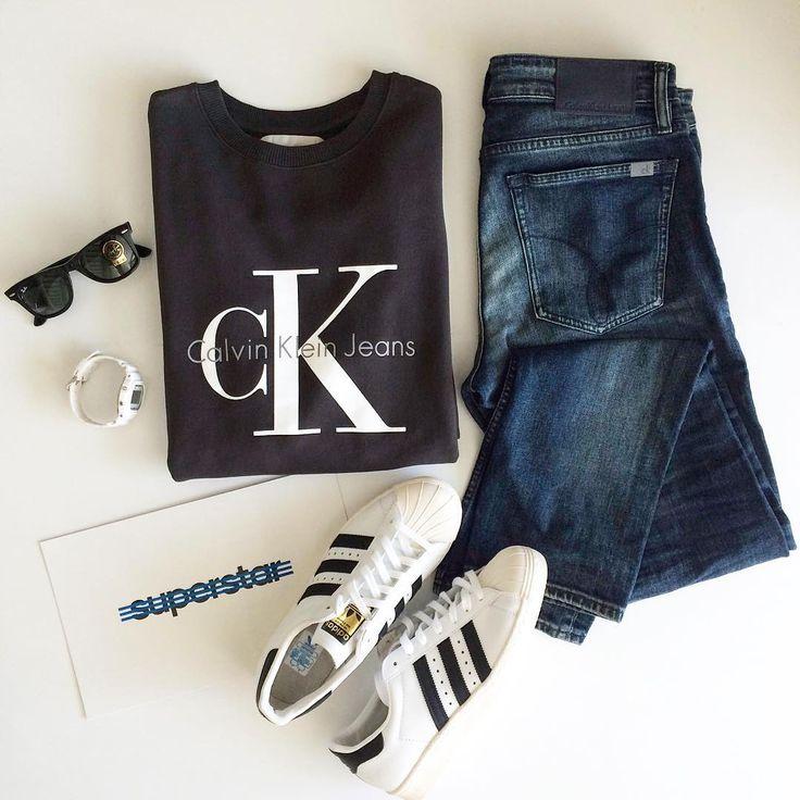 Today's outfit: 🔸свитшот - Calvin Klein  🔸джинсы - Calvin Klein  🔸кроссовки - Adidas  🔸очки - Ray-Ban  🔸часы - G-Shock