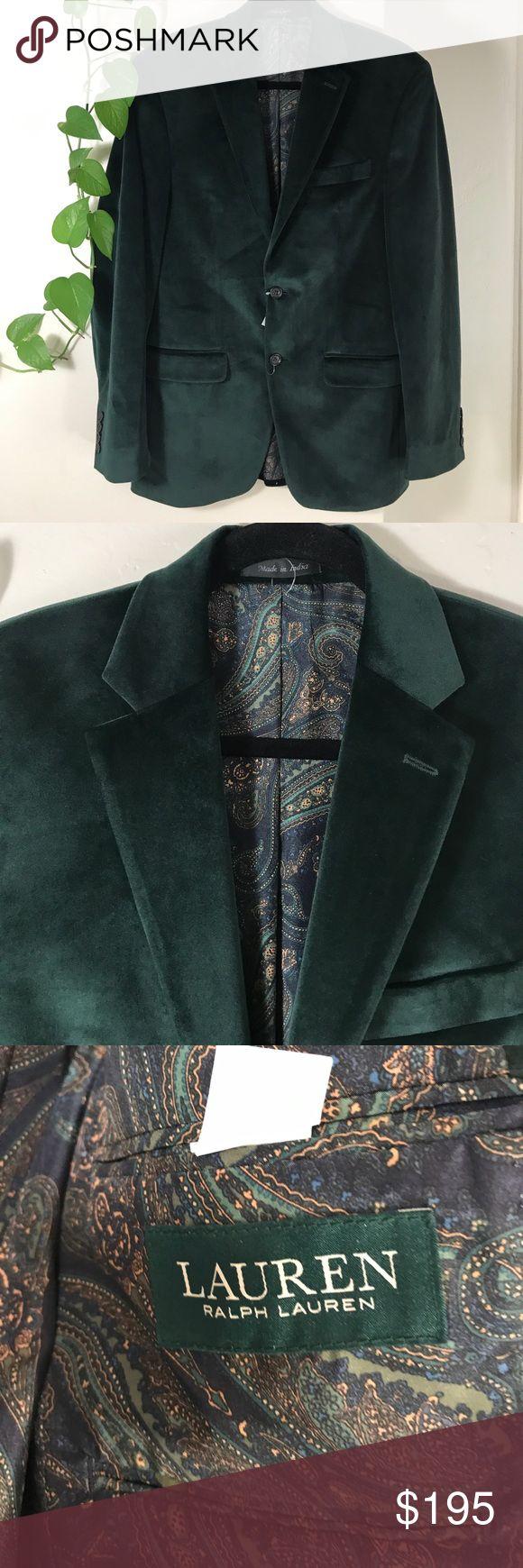 "Lauren Ralph Lauren Green Velvet Sport Coat. Lauren Ralph Lauren Green Velvet Sport Coat.  B109. 21"" across armpit to armpit 31"" long. Sleeve 25"" long. Lauren Ralph Lauren Suits & Blazers Sport Coats & Blazers"