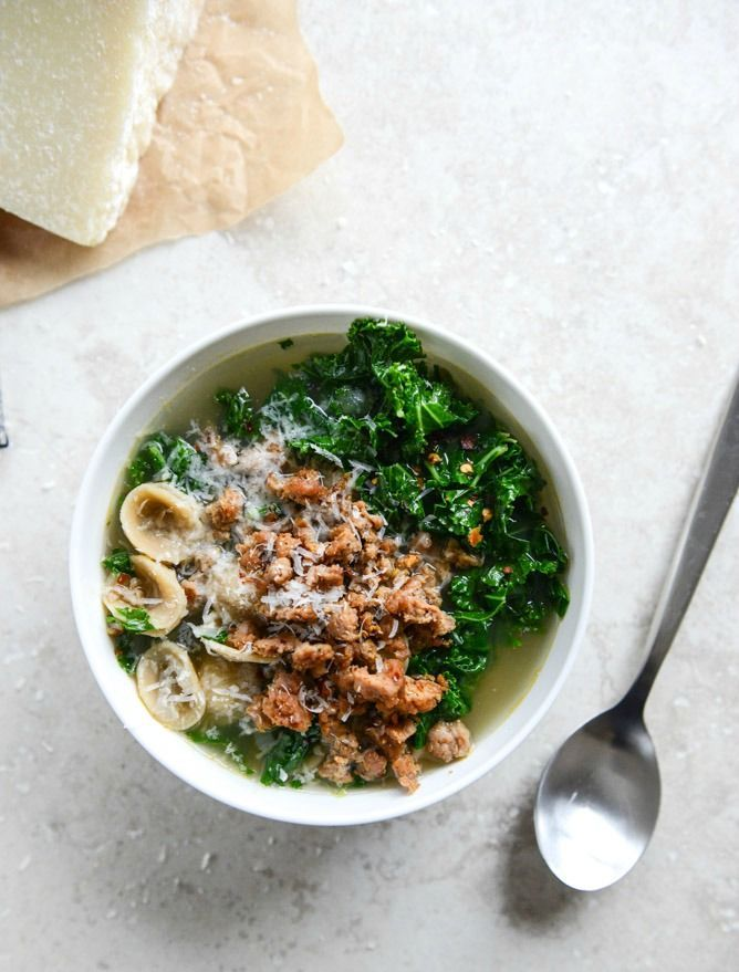 perfect winter soup spicy sausage, kale and orecchiette