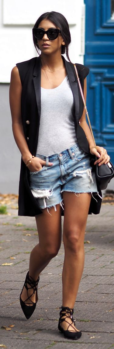 Not Your Standard Long Black Vest Grey Basic Tank -  Relaxed Cut-offs
