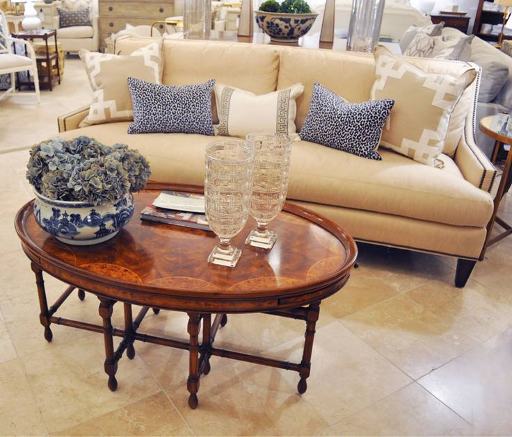 Best Cream Sofa Blue And White Pillows And An Inlay Coffee 400 x 300