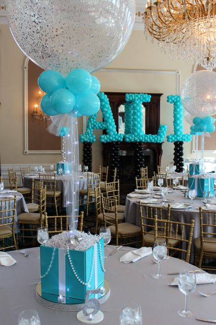 Tiffany Themed Centerpiece Tiffany Themed Bat Mitzvah with Tiffany Box Centerpieces & Sparkle Balloons