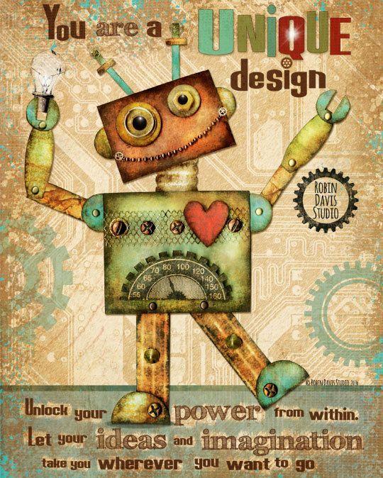 "Robot Robot Art Print - 8""x10"" Kids Encouragement - Robot wall decor - Robot Door Art - Kids room decor -Robot kids room -Robin Davis Studio"