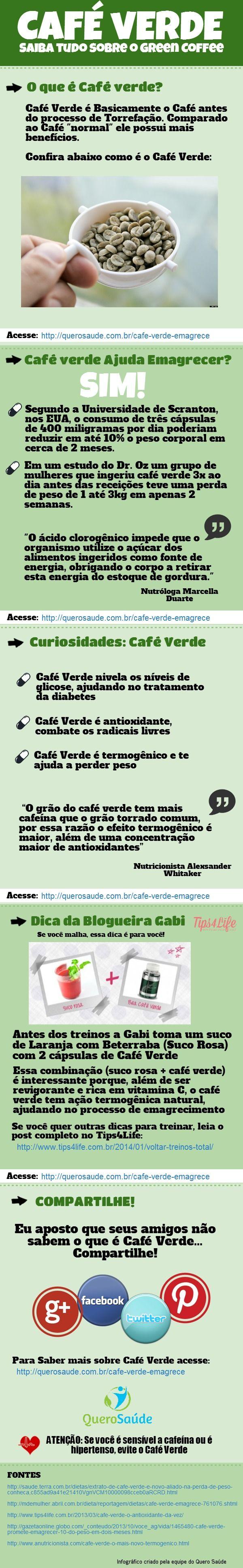 [INFOGRÁFICO] Pesquisas indicam que o Café verde é um ótimo alimento para emagrecer. Veja nesse infográfico o que é o café verde, como tomar e quais são os benefícios do Green Coffee.   Acesse http://querosaude.com.br/cafe-verde-emagrece/ e saiba mais sobre o extrato de café verde.  #GreenCoffee #CafeVerde #Cafe