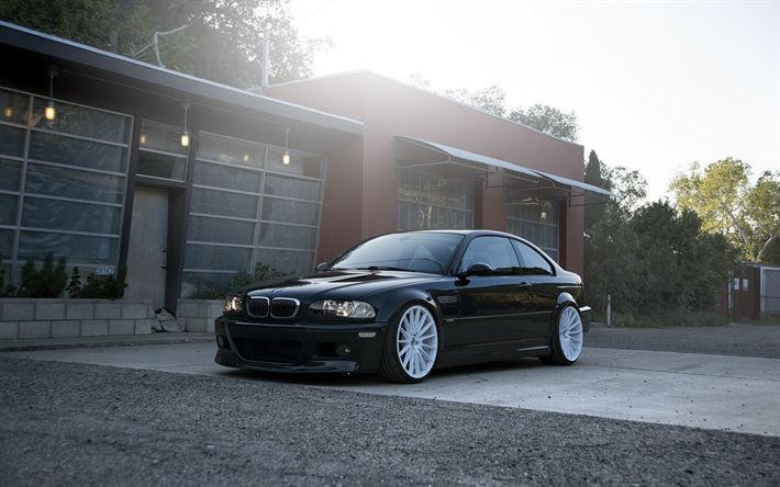 Download wallpapers BMW M3, black coupe, white wheels, tuning m3, German cars, E46, black M3, BMW