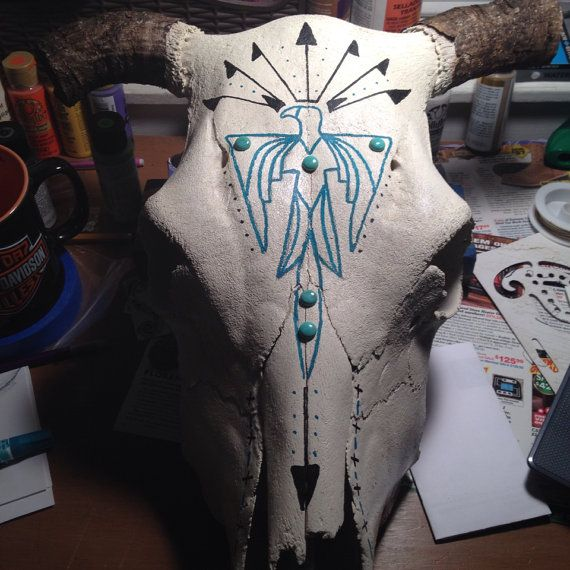 Painted Cow Skull by TurquoiseCool on Etsy