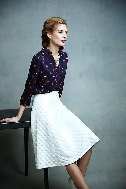 Dotted Jacquard Skirt - anthropologie.com