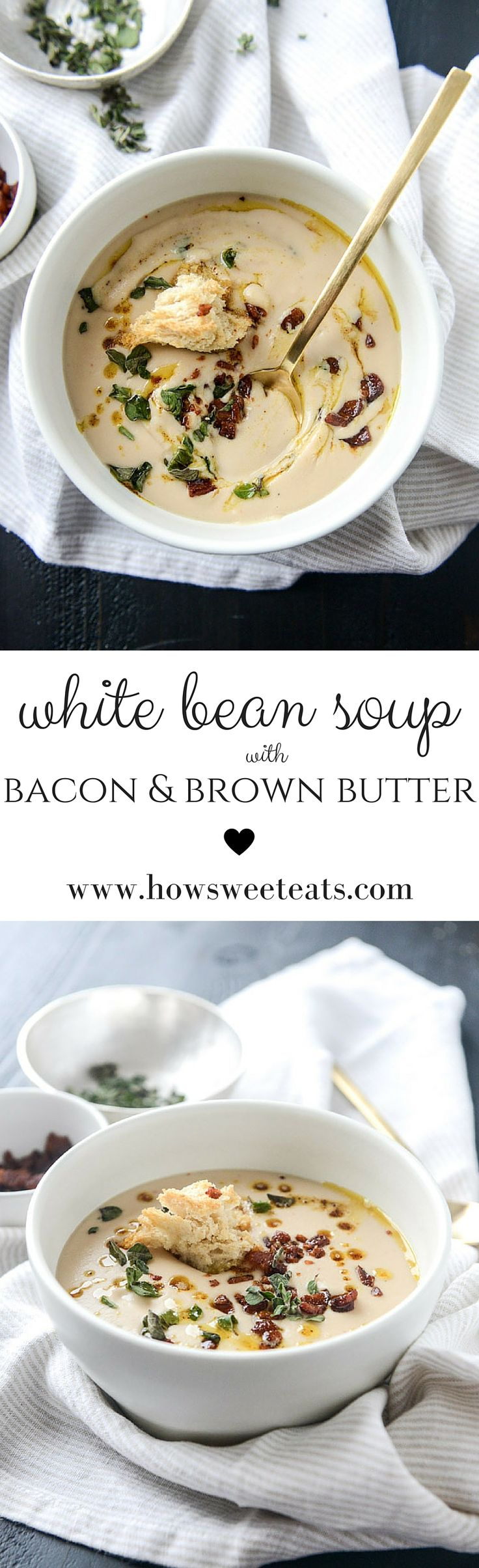 White Bean Soup with Bacon by @howsweeteats I howsweeteats.com