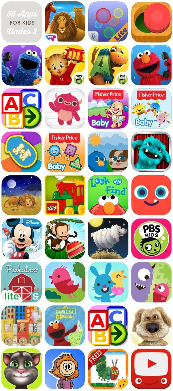 35 awesome and engaging apps for the under 3 crowd. Includes lots of free apps, and apps for both iOS  and Android! | Hellobee