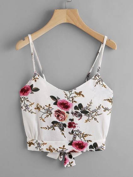 Camisola con estampado floral al azar con abertura