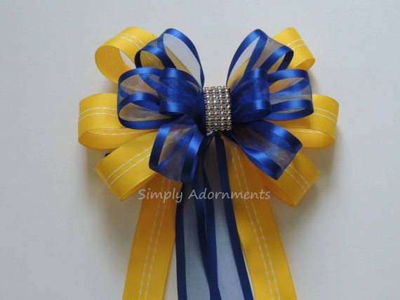 Yellow Royal Blue and bling Wedding aisle Decoration Bow  by SimplyAdornments