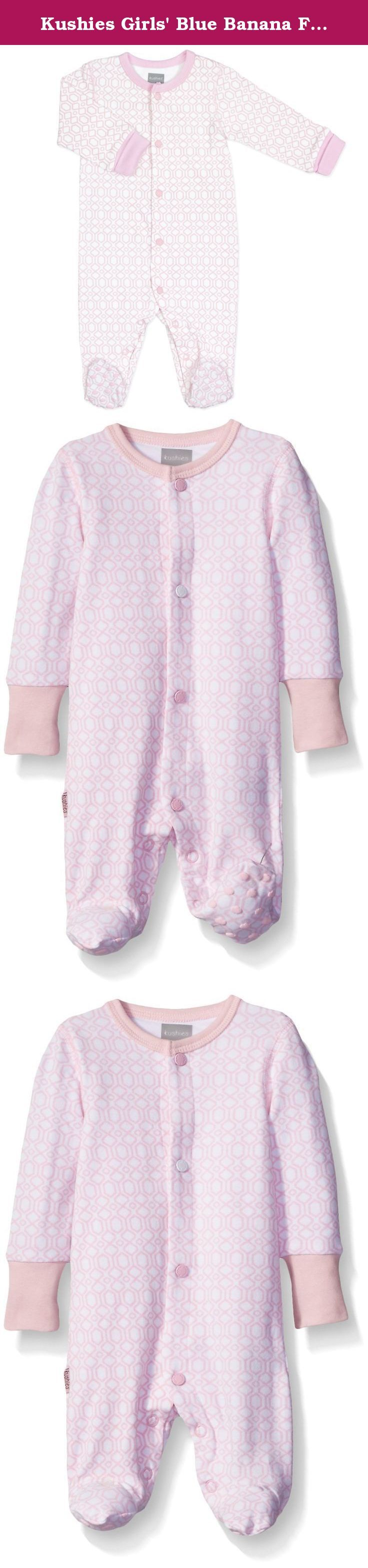 Kushies Girls' Blue Banana Floral Bow Footie Pajamas Footed Sleeper Baby Pajamas, Light Pink, 03 Months. Made of 95 percent cotton and 5 percent lycra for comfort and softness, this geo baby front snap sleeper stands out in a crowd. The Kushies sleeper offers a snap front closure and built-in feet to keep your baby's little feet cozy and warm.