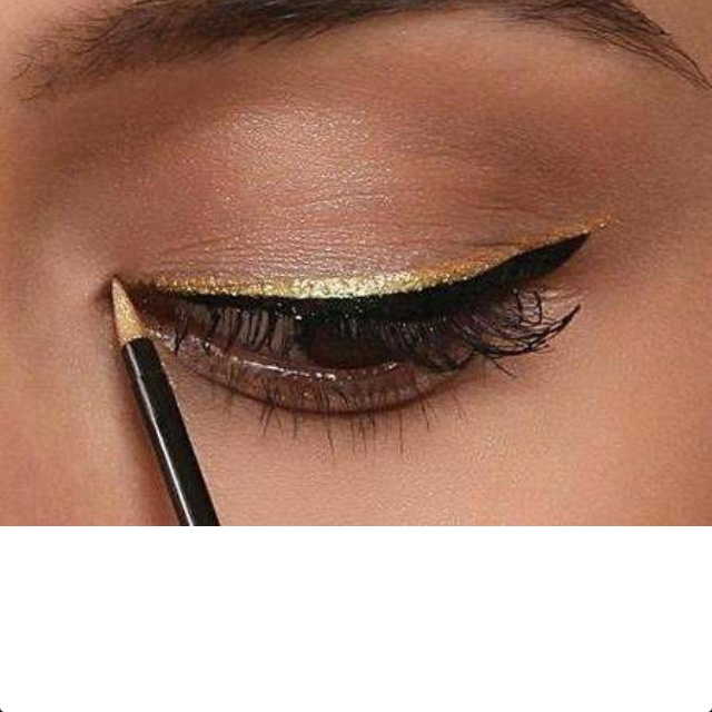 Gold eye liner...love it! Start with applying a thin black eyeliner and then add the gold. Also you can add natural eyeshadow as a base. Simple & easy to do, makes your eyes really stand out, just gorgeous!!