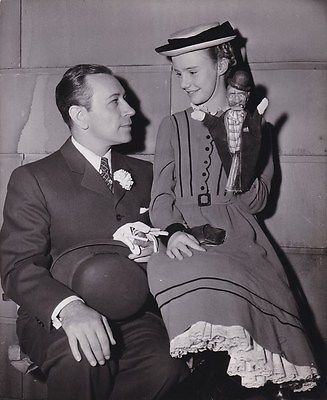 GEORGE RAFT PEGGY ANN GARNER Original CANDID on Set Vintage 1945 NOB HILL Photo