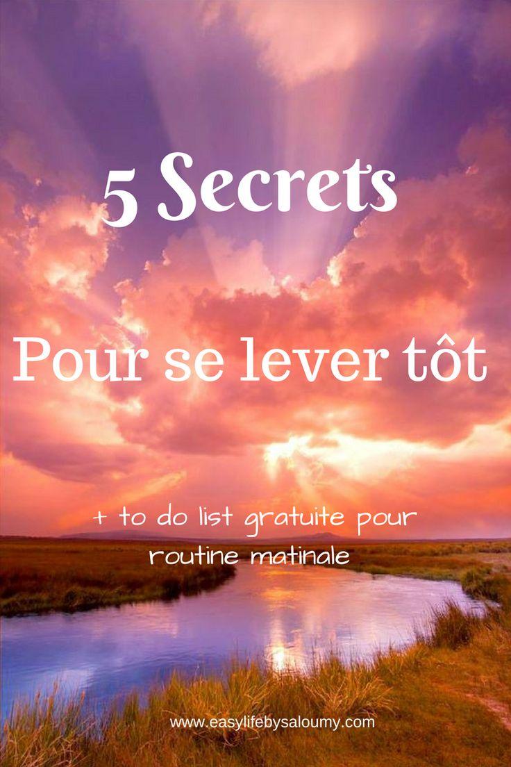 5 Secrets pour se lever tôt + to list à impimer