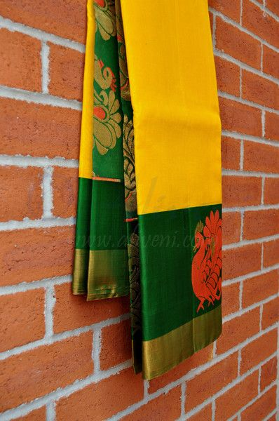 Plain Yellow Kuppadam Saree with traditional Dark Green Peacock Border - Aliveni - 3