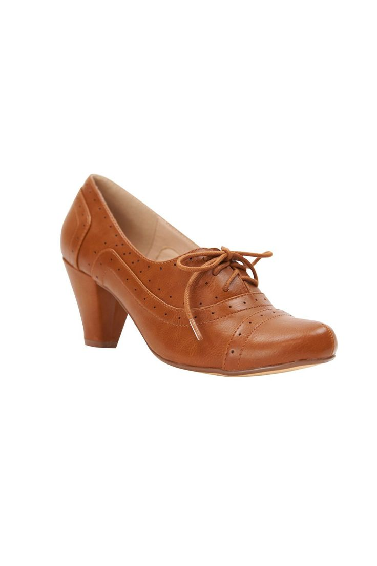 Abbi Oxford Heel in Tan - Shoes | Pinup Girl Clothing