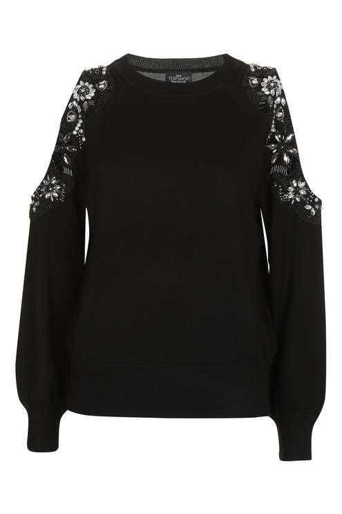 Embellished Cold Shoulder Knitted Jumper