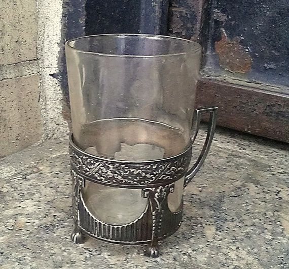 silver plate handled coaster and glass cup cool plate - Cool Coasters