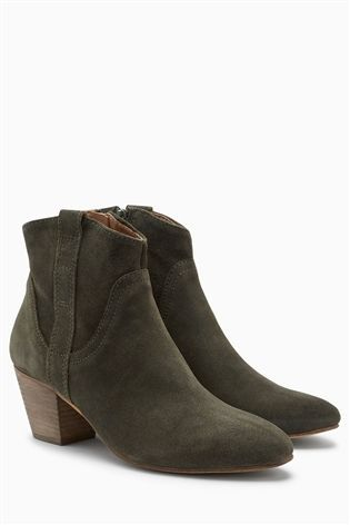 Buy Khaki Leather Western Boots from the Next UK online shop