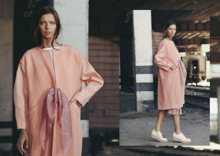 ANOUKI | Peach textured coat with sheer purple organza belt.