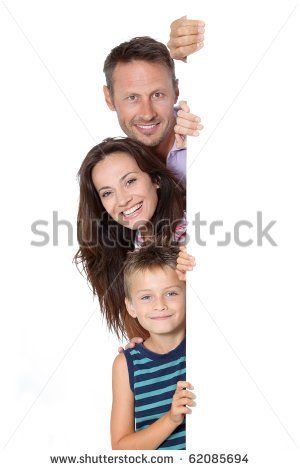 Happy family on white background