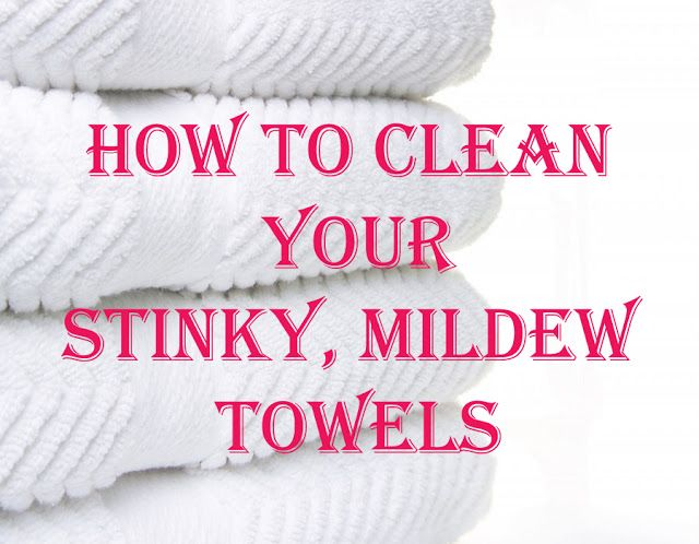How to Clean Your Stinky Mildew Towels...Wash your towels in hot water with a cup of vinegar, then run again in hot water with a half-cup of baking soda. That will strip your towels from all of that residue & mildew smell & will actually leave them feeling fluffy & smelling fresh.