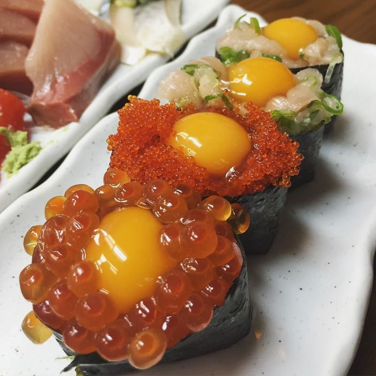 Got egg yolk all over my mouth for a min. #eggyolk#sushimadness#eggs#rawegg#foodporn#inmystomach#foodism#negitoro#ikura#withegg#egglover#wildsalmon#ohwow#flavorful#seafoodheaven#freshy#japfood#toro#musttry#recommended#travelfoodie#sashimi#highlyrecommended by manyin.rach