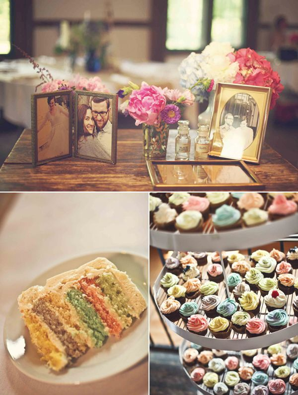 colorful cake and matching cupcakes