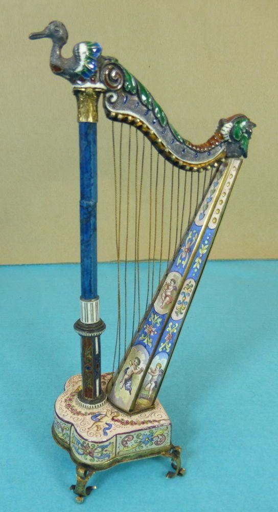 Rare Austrian Sterling Silver Gilt Enamel Novelty Clock Harp Cherubs By SG C1863 #SGAustrian