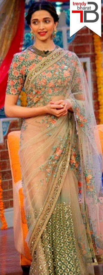 Dress like Deepika.. The combination of a sheer net saree and a high neck blouse are giving her a regal appearance.  #bollywoodfashion #ethnicwear #womensethnicwear #womensfashion #netsarees https://trendybharat.com/women/ethnics-wear/bollywood-collection