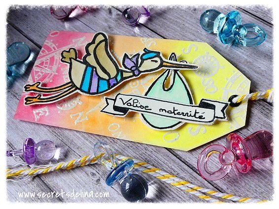 Etiquette tag maternité cigogne naissance aquarelle - stork maternity birth watercolor #Secretsdelina