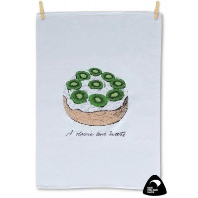 Tea towel A Classic Kiwi Sweetie. A quality 100% cotton tea towel with New Zealand's iconic Summer desert the Pavlova decorated with bright green slices of Kiwifruit. Matching Apron available. Genuinely made in New Zealand.   See more at www.entirelynz.co.nz/gifts