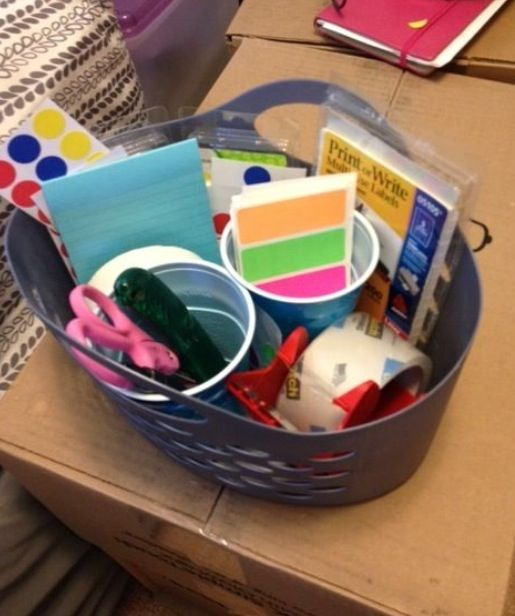 Packing basket to carry around house; have everything with you: labels, Sharpies, scissors, packing tape...