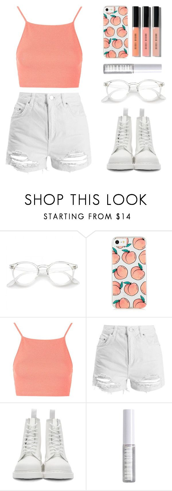"""""""Peach mode : on"""" by baludna ❤ liked on Polyvore featuring Topshop, Dr. Martens, Lord & Berry and Bobbi Brown Cosmetics"""