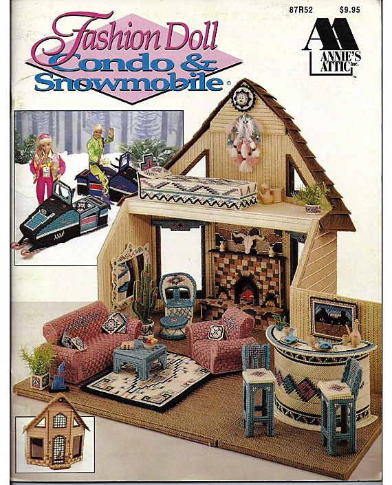 Barbie Plastic Canvas Pattern Fashion Doll Condo & Snowmobile Annies Attic 87R52. $28.00, via Etsy.