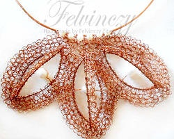 Crocheted three-dimensional copper lace necklace by Zita Felvinczy
